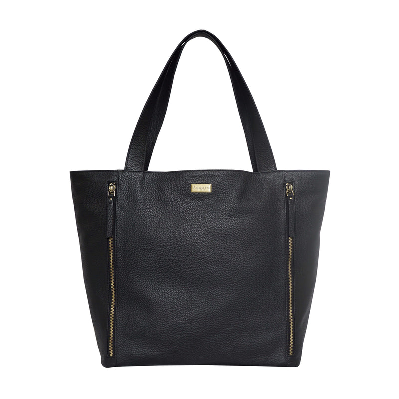 'CORDER' Black Pebble Grain Real Leather Oversized Tote Bag