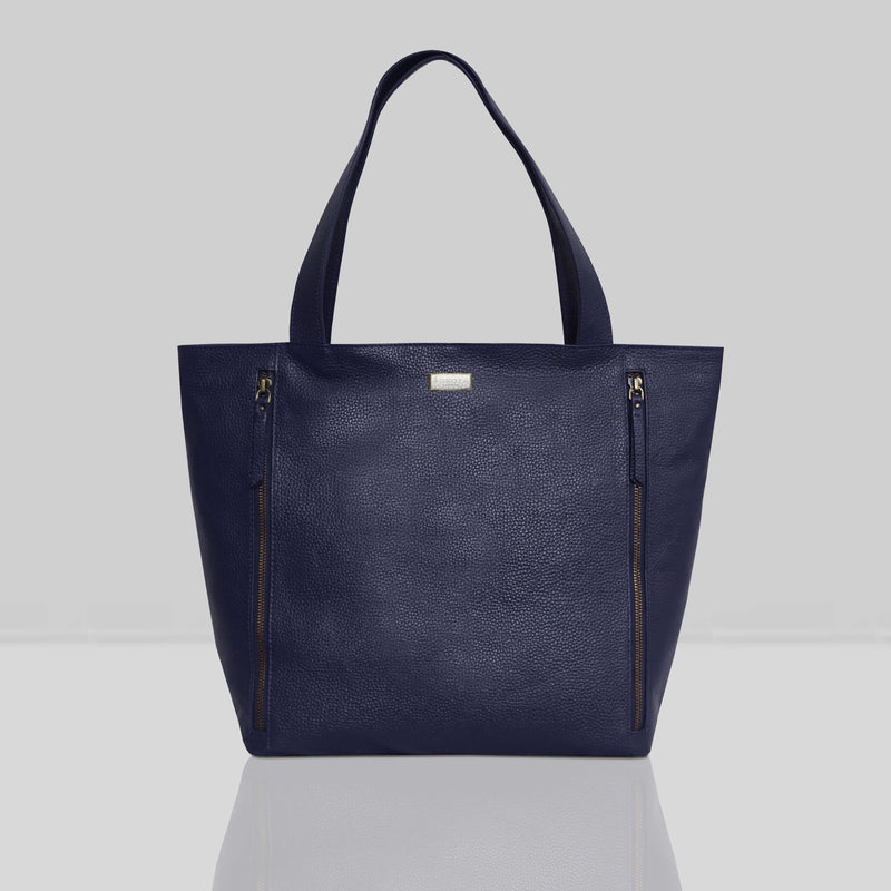 'CORDER' Navy Pebble Grain Real Leather Oversized Tote Bag