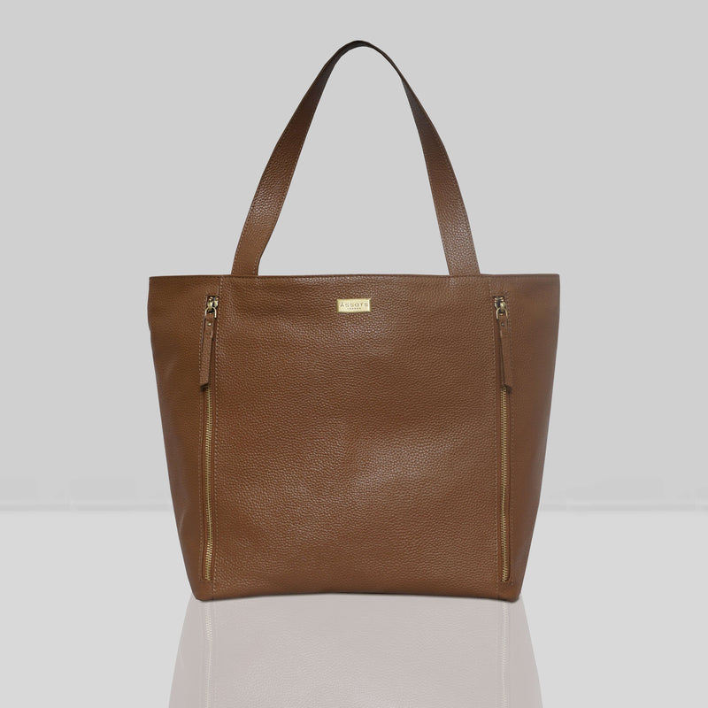 'CORDER' Tan Pebble Grain Real Leather Oversized Tote Bag