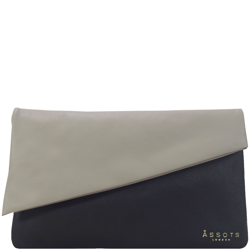'SLOANE' Black Designer Leather Flap Over Clutch Bag