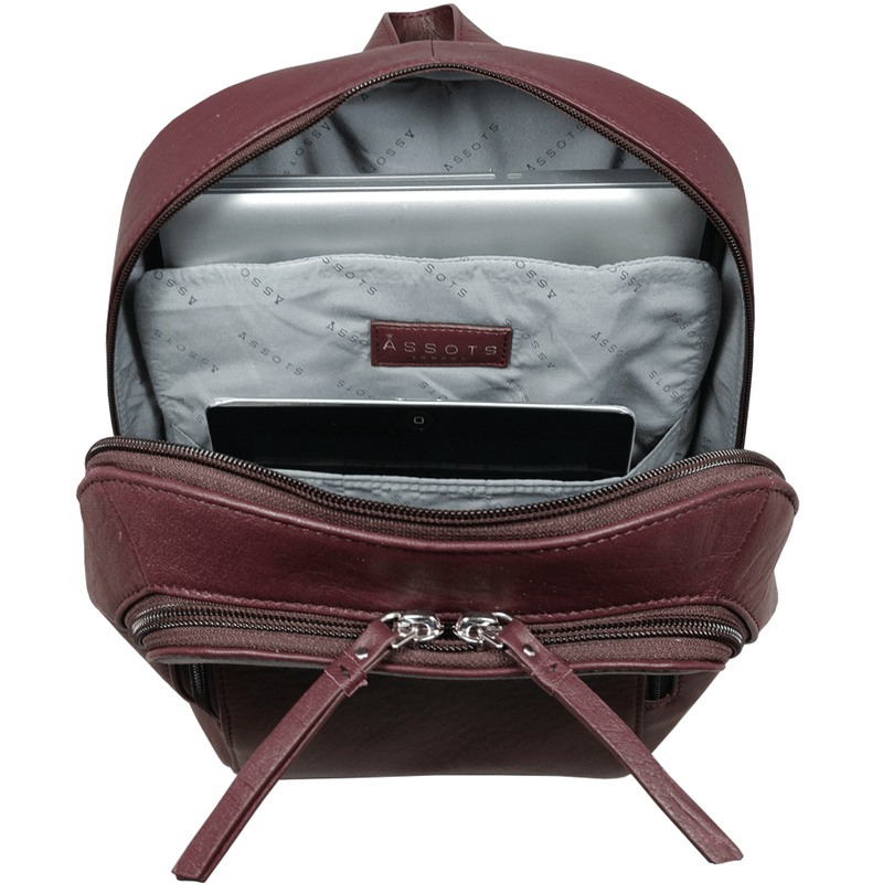 'BAKER' Burgundy Leather Double Zip Laptop Backpack