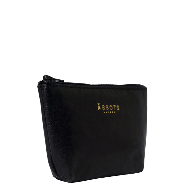 'Diana' Black Full Grain Leather Zip Top Coin Purse