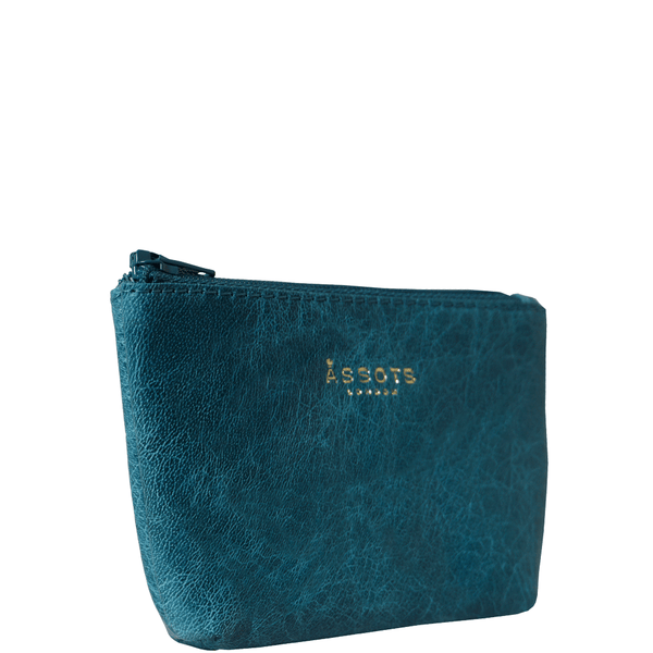 'Diana' Ocean Blue Full Grain Leather Zip Top Coin Purse
