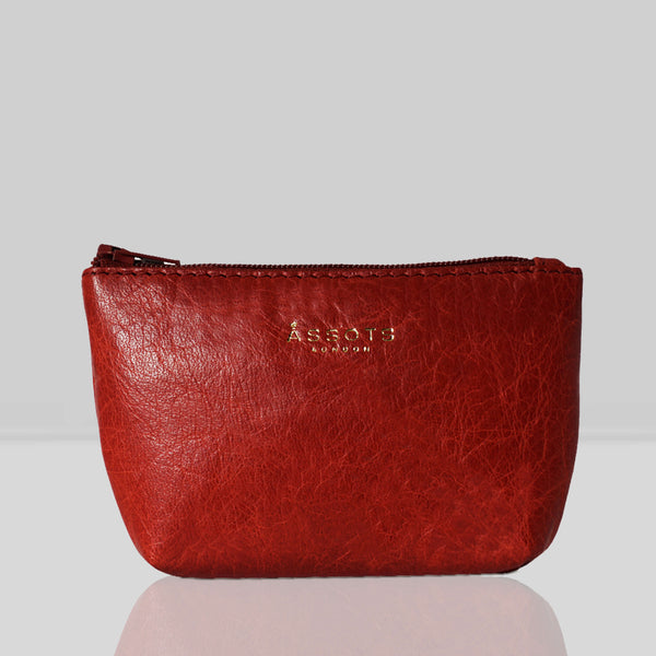 'Diana' Red Full Grain Leather Zip Top Coin Purse