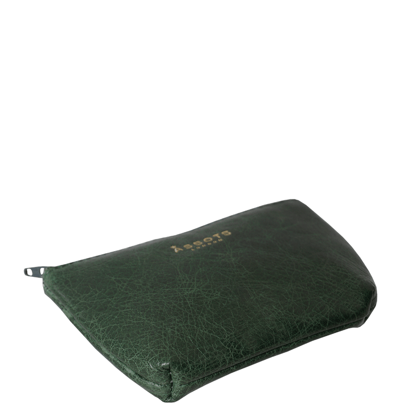 'Diana' Tree Top Green Full Grain Leather Zip Top Coin Purse
