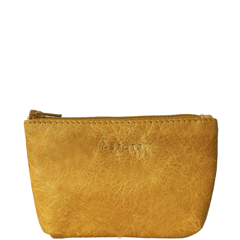 'Diana' Yellow Full Grain Leather Zip Top Coin Purse