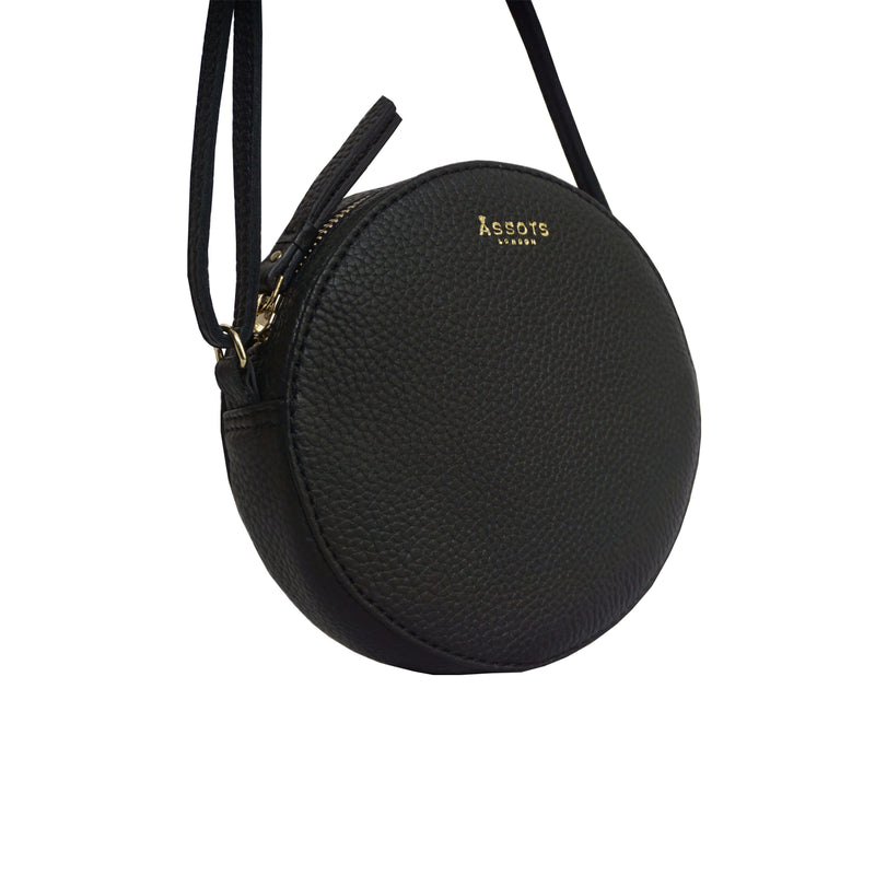'Disc' Black Leather Round Mini Crossbody Bag