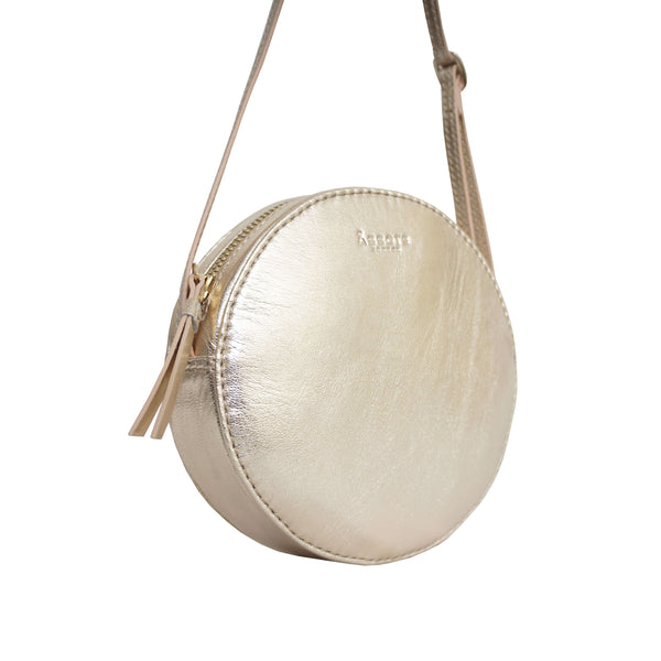 'Disc' Rose Gold Metallic Leather Round Mini Crossbody Bag