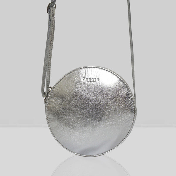 'Disc' Silver Metallic Leather Round Mini Crossbody Bag