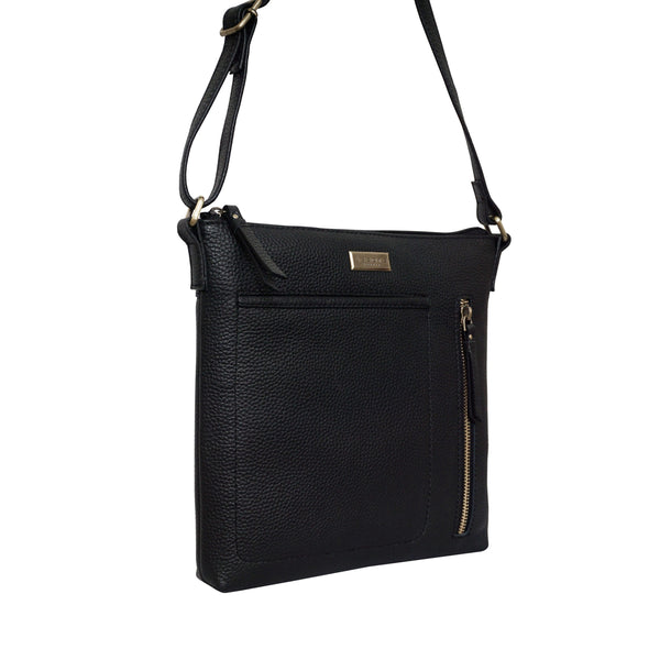 'EDITH' Black Pebble Grain Leather Crossbody bag