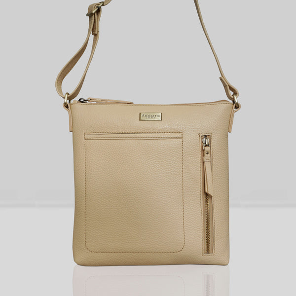 'EDITH' Cream Yellow Pebble Grain Leather Crossbody bag