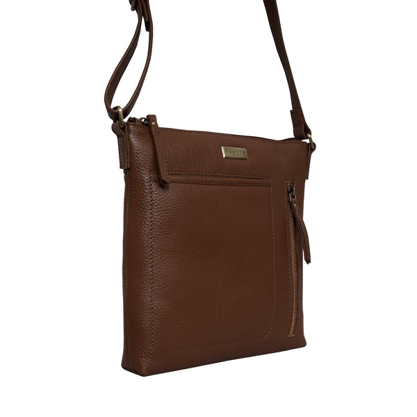 'EDITH' Tan Pebble Grain Leather Crossbody bag