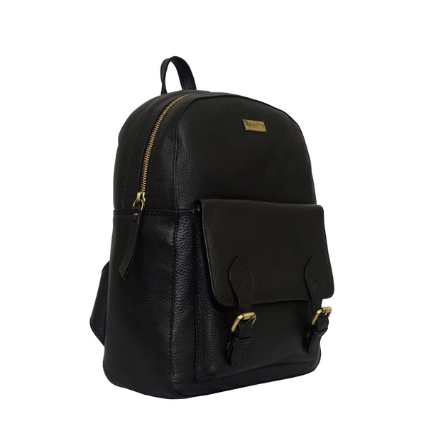 'ELDON' Black Pebble Grain Leather Zip Top Large Laptop Backpack