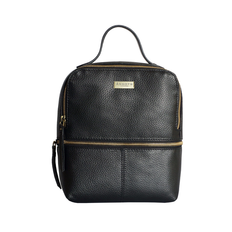 'ELLA' Black Pebble Grain Mini Real Leather Backpack for Women