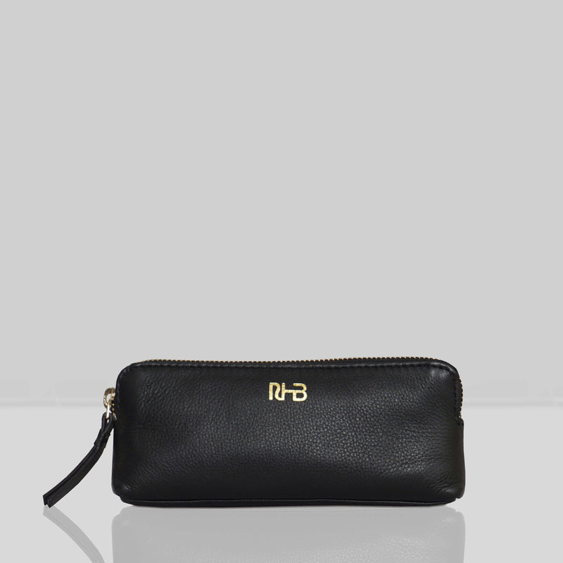 'EMILY' Small Black Leather MakeUp Bag