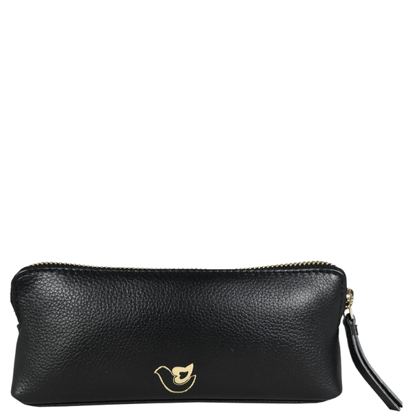 'EMILY' - Small Black Leather Toiletry Make Up Cosmetic Bag