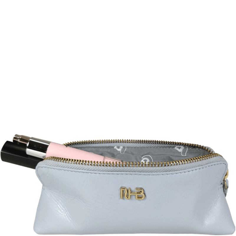 'EMILY' Small Pearl Blue Leather Makeup Bag