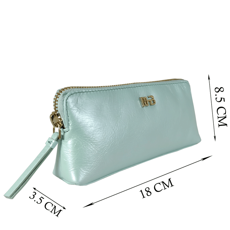 'EMILY' Small Pearl Mint Leather Makeup Bag
