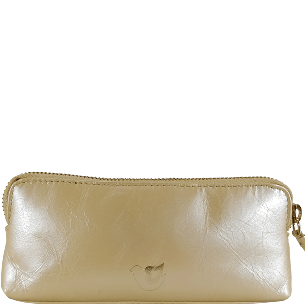 'EMILY' Small Pearl Yellow Leather Makeup Bag