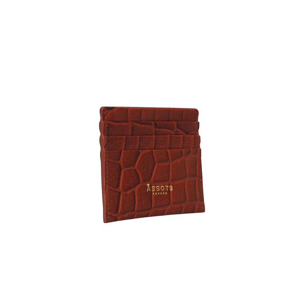 'FANN' Red Croc RFID Leather Credit Card Holder