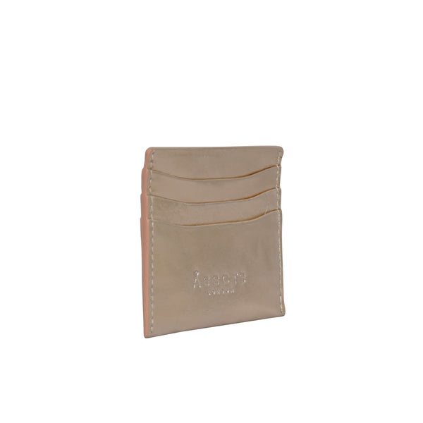 'FANN' Metallic Rose Gold Leather Round Design RFID Credit Card Holder