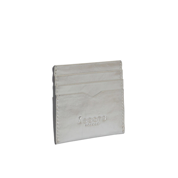 'FANN' Metallic Silver leather V-Design RFID Credit Card Holder