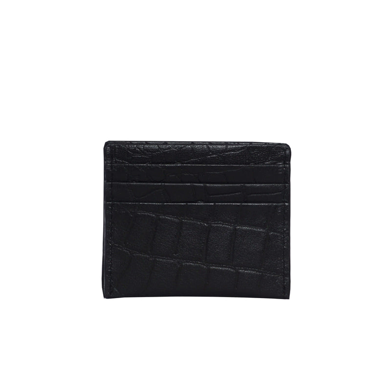 'FANN' Black Croc RFID Leather Credit Card Holder
