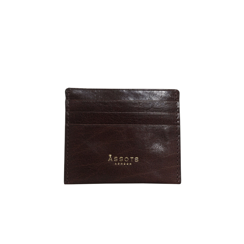 'FANN' Brown Vintage Polished Real Leather Compact RFID Credit Card Holder