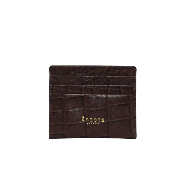 'FANN' Brown Croc RFID Leather Credit Card Holder