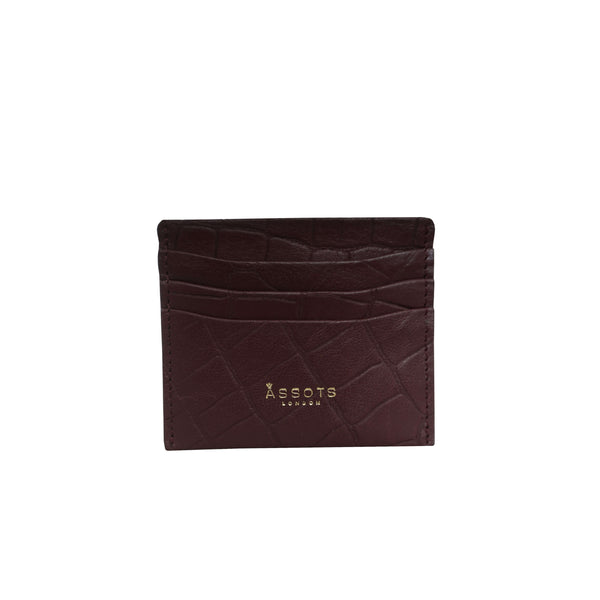 'FANN' Burgundy Croc Embossed Round Design RFID Leather Credit Card Holder