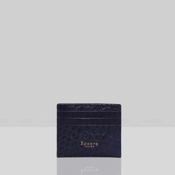 'FANN' Navy Croc RFID Leather Credit Card Holder