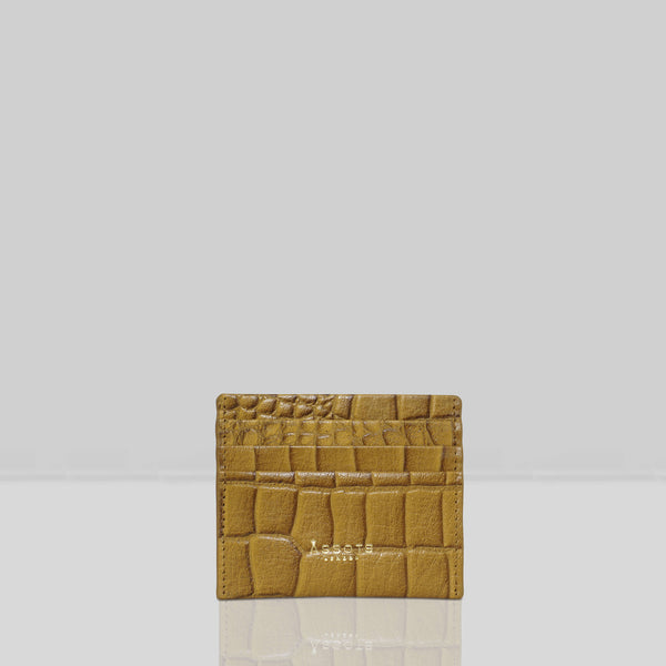 'FANN' Ochre Mustard Croc RFID Leather Credit Card Holder
