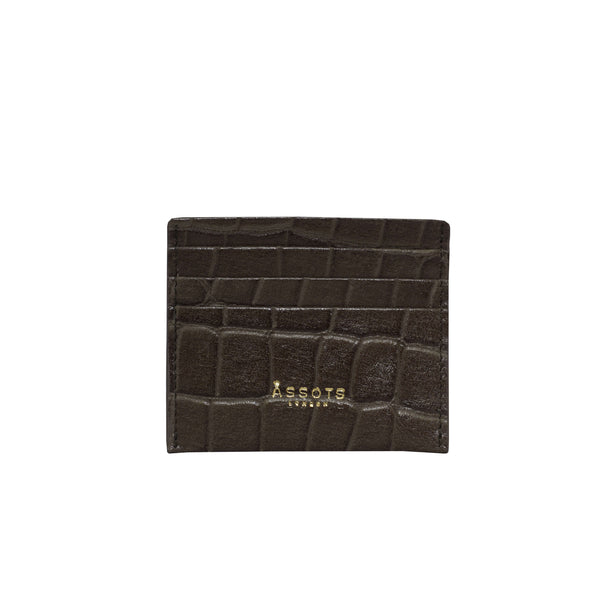 'FANN' Olive Green Croc RFID Leather Credit Card Holder
