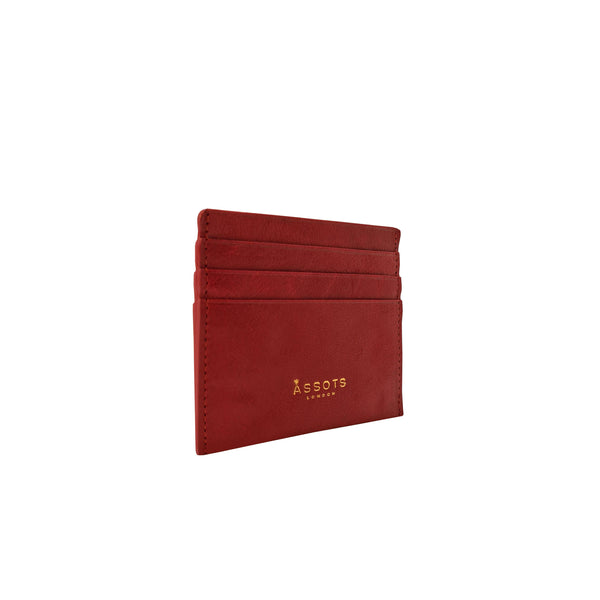 'FANN' Paprika Red Vintage leather Compact RFID Credit Card Holder