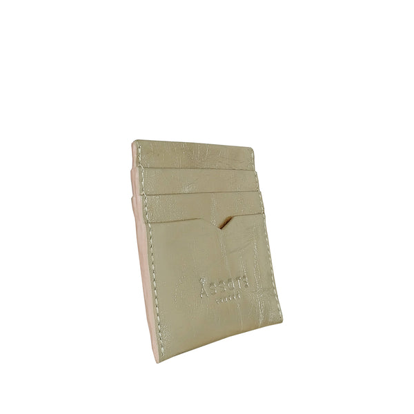 'FANN' Metallic Rose Gold Leather V-Design RFID Credit Card Holder