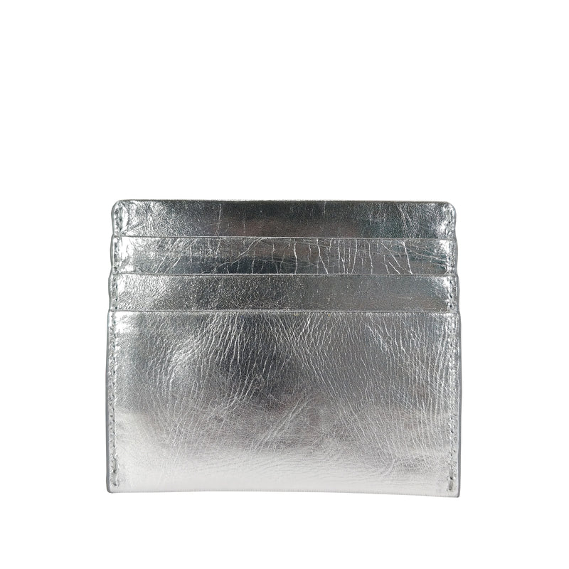 'FANN' Metallic Silver leather RFID Credit Card Holder