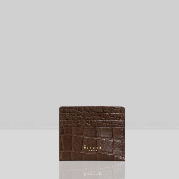 'FANN' Tan Croc RFID Leather Credit Card Holder