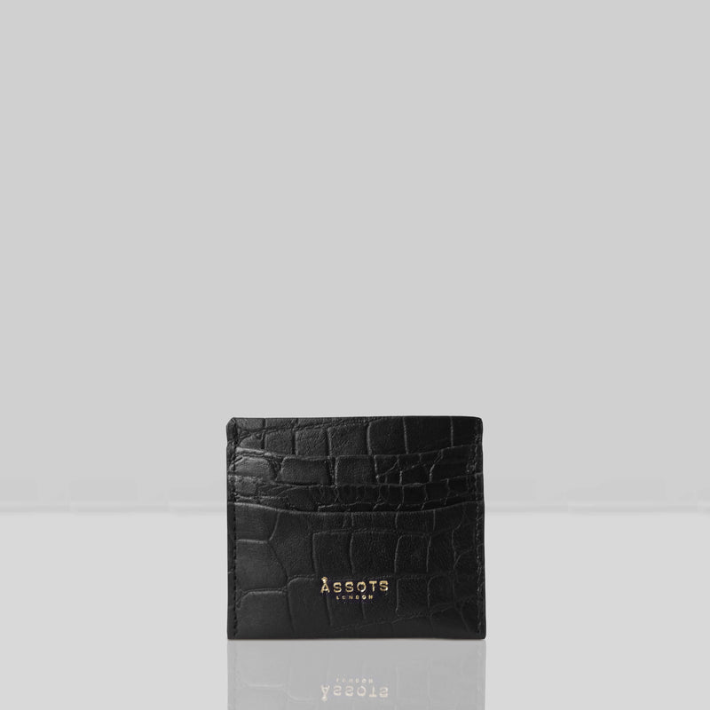 'FANN' Black Croc Embossed Round Design RFID Leather Credit Card Holder