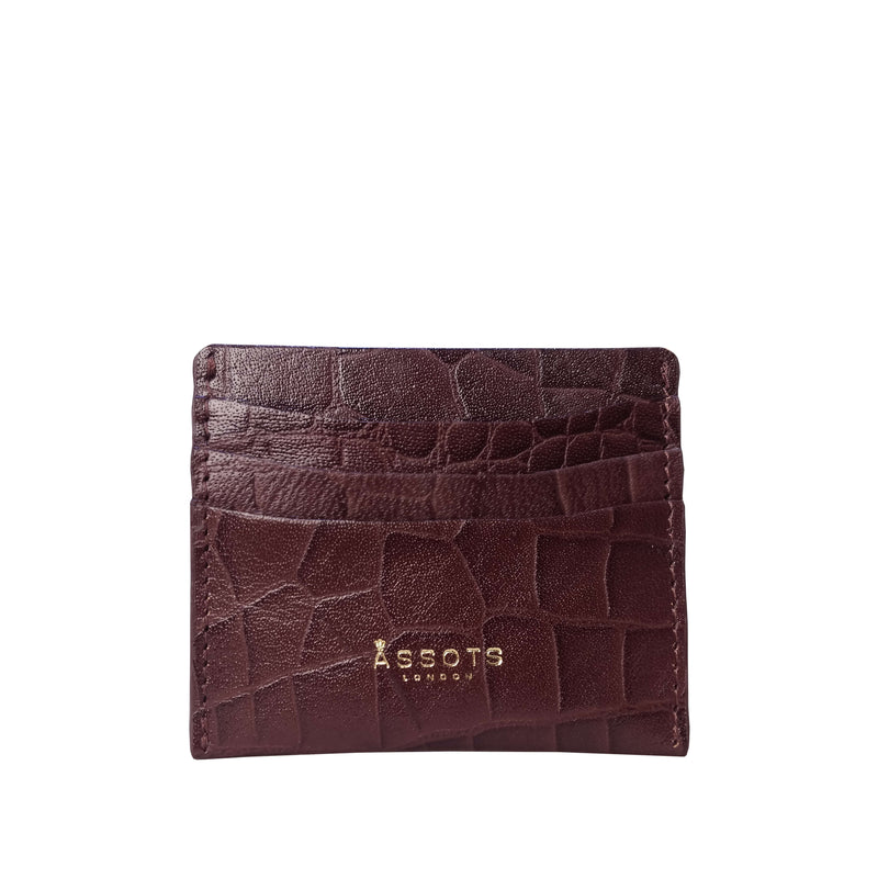 'FANN' Brown Croc Embossed Round Design RFID Leather Credit Card Holder