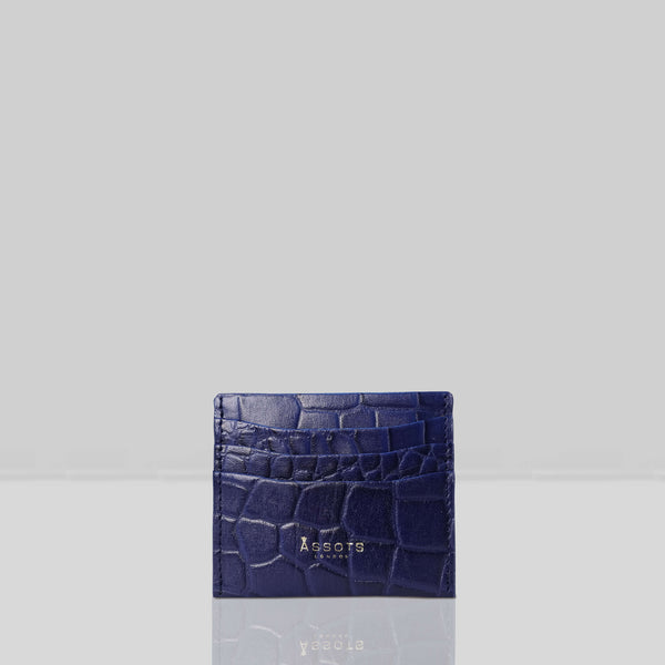 'FANN' Navy Croc Embossed Round Design RFID Leather Credit Card Holder