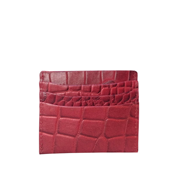 'FANN' Red Croc Embossed Round Design RFID Leather Credit Card Holder