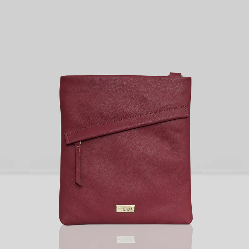 'FLORENCE' Carmine Pink Pebble Grain Leather Crossbody Bag