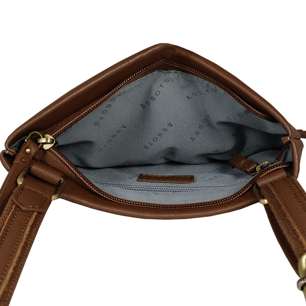 'FLORENCE' Tan Pebble Grain Leather Crossbody Sling Bag