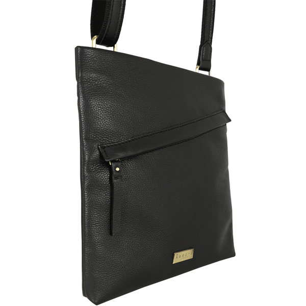 'FLORENCE' Black Pebble Grain Leather Crossbody Sling Bag