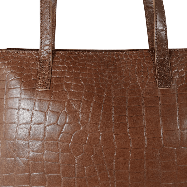 'FREYA' - Tan Semi Structured Unlined Croc Leather Tote Bag