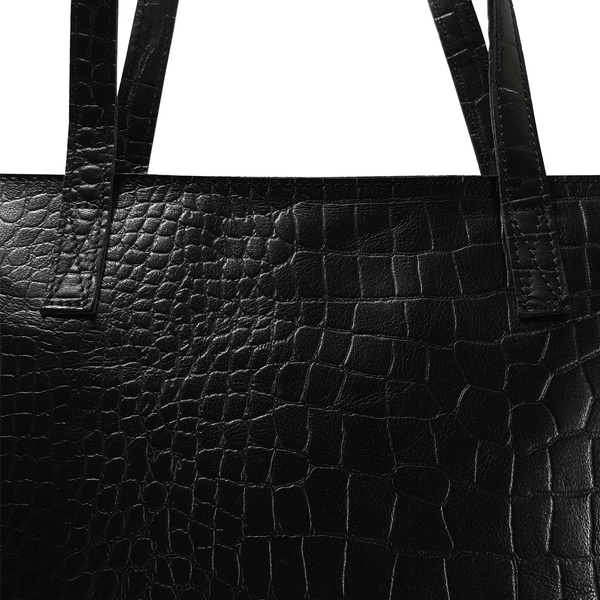 'FREYA' - Black Semi Structured Unlined Croc Leather Tote Bag