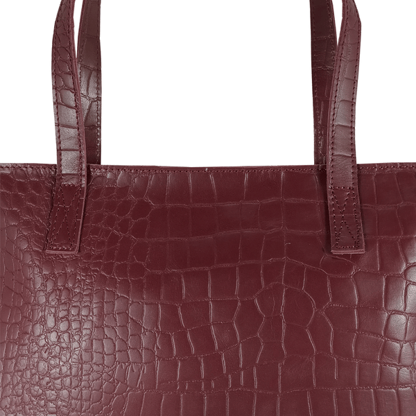 'FREYA' - Burgundy Semi Structured Unlined Croc Leather Tote Bag