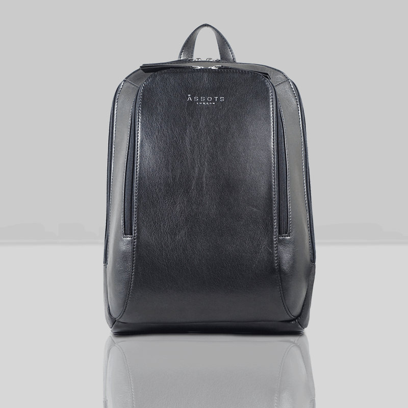 'BAKER' Black Leather Double Zip Laptop Backpack
