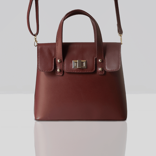 'Bentley' Burgundy Smooth Leather Mini Grab Bag