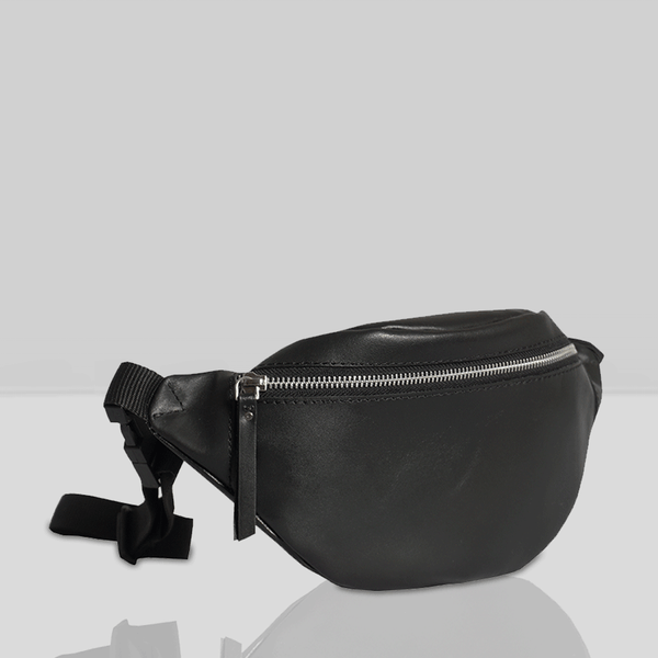 'Noah' Black Leather Bum Belt Bag